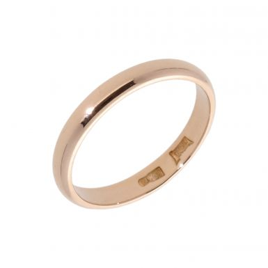 Pre-Owned 14ct Rose Gold 3mm Wedding Band Ring