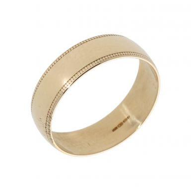 Pre-Owned 9ct Yellow Gold 6mm Beaded Edge Wedding Band Ring