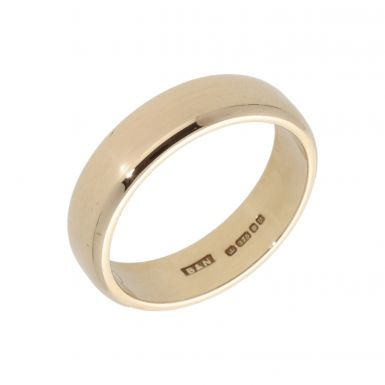 Pre-Owned 9ct Yellow Gold 6mm Edged Wedding Band Ring