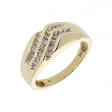 Pre-Owned 9ct Gold Diamond Set Triple Row Wave Signet Ring