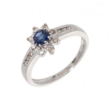 Pre-Owned 14ct White Gold Sapphire & Diamond Cluster Ring