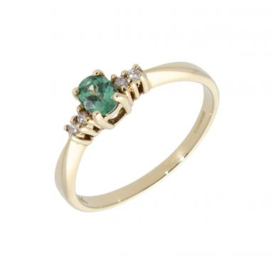 Pre-Owned 9ct Gold Green Sapphire & Diamond 5 Stone Dress Ring