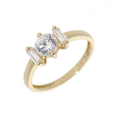 Pre-Owned 14ct Yellow Gold Cubic Zirconia 3 Stone Dress Ring
