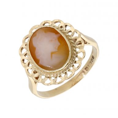 Pre-Owned 9ct Yellow Gold Oval Cameo Dress Ring
