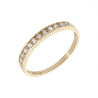 Pre-Owned 14ct Yellow Gold Cubic Zirconia Half Eternity Ring