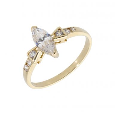 Pre-Owned 14ct Yellow Gold Cubic Zirconia Marquise Dress Ring