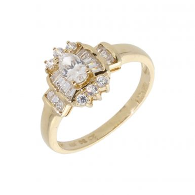 Pre-Owned 14ct Yellow Gold Cubic Zirconia Cluster Ring