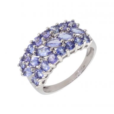 Pre-Owned 9ct White Gold Tanzanite Triple Row Dress Ring