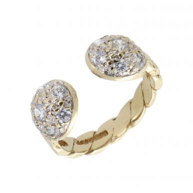 Pre-Owned 9ct Gold Cubic Zirconia Torque Ball Twist Dress Ring