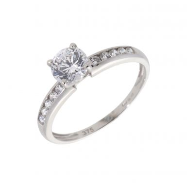Pre-Owned 9ct Gold Cubic Zirconia Solitaire & Shoulder Ring