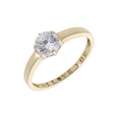 Pre-Owned 9ct Yellow Gold Cubic Zirconia Solitaire Ring