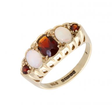 Pre-Owned 9ct Yellow Gold Garnet & Opal 5 Stone Dress Ring