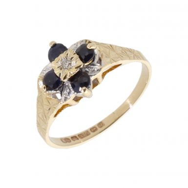 Pre-Owned 9ct Yellow Gold Sapphire & Diamond Cluster Ring