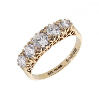 Pre-Owned 9ct Yellow Gold Cubic Zirconia 5 Stone Dress Ring