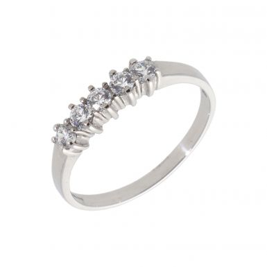 Pre-Owned 9ct White Gold Cubic Zirconia 5 Stone Dress Ring