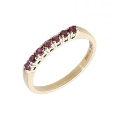 Pre-Owned 9ct Yellow Gold Ruby Half Eternity Ring