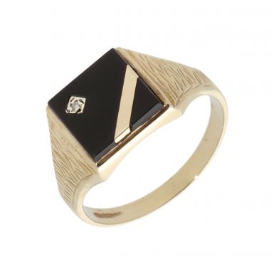 Pre-Owned 9ct Yellow Gold Diamond & Onyx Set Signet Ring
