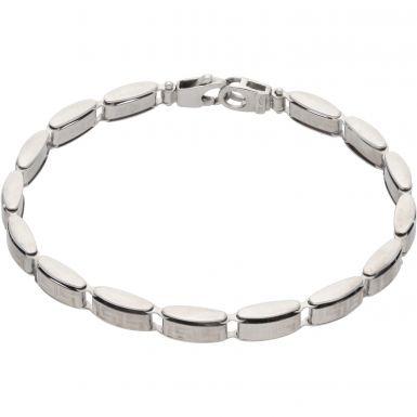 Pre-Owned 9ct White Gold Greek Key Hollow Bar Link Bracelet