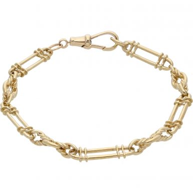 Pre-Owned 9ct Yellow Gold 8 Inch Fancy Bar Link Bracelet