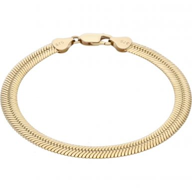 Pre-Owned 9ct Yellow Gold 7.5 Inch Flat Snake Link Bracelet