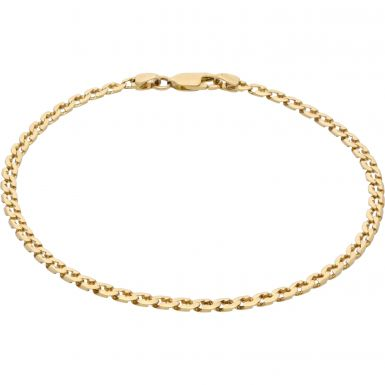 Pre-Owned 18ct Yellow Gold 9 Inch Shaped Curb Bracelet