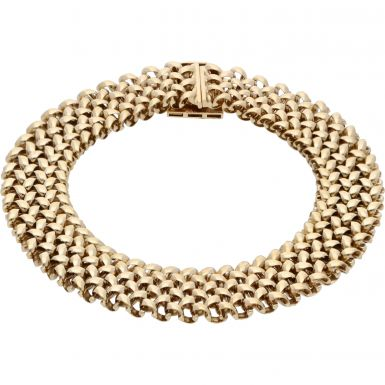 Pre-Owned 9ct Yellow Gold 7.2 Inch Fancy Woven Link Bracelet