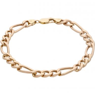 Pre-Owned 9ct Yellow Gold 7.7 Inch Hollow Figaro Bracelet