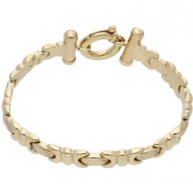 Pre-Owned 9ct Yellow Gold 7.5 Inch Hollow Fancy Link Bracelet