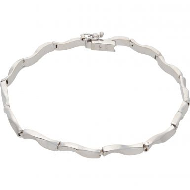 Pre-Owned 9ct White Gold 8 Inch Hollow Wave Bracelet