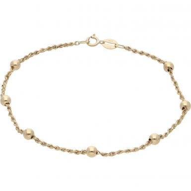 Pre-Owned 9ct Yellow Gold 8 Inch Rope & Bead Link Bracelet