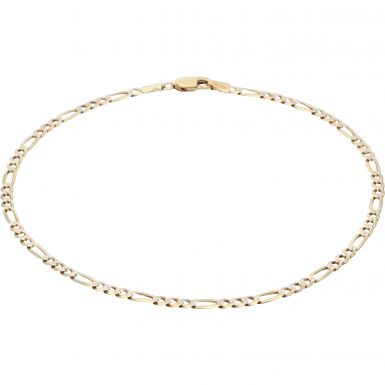Pre-Owned 9ct Yellow & White Gold 10 Inch Figaro Anklet