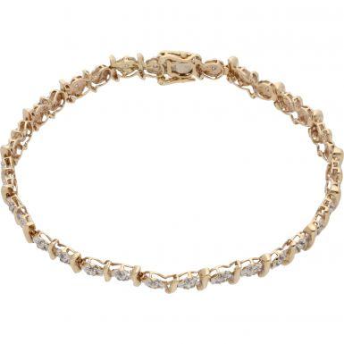 Pre-Owned 9ct Gold 0.50 Carat Illusion Set Diamond Bracelet