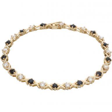 Pre-Owned 9ct Gold Sapphire & Cubic Zirconia Set Kiss Bracelet