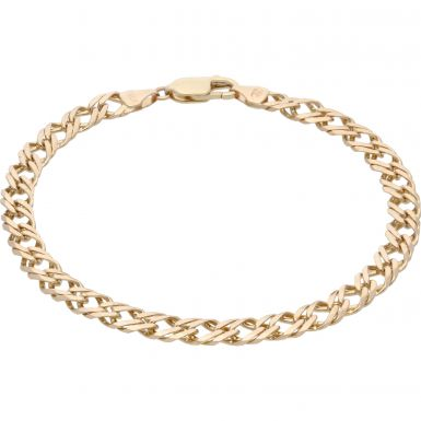 Pre-Owned 9ct Yellow Gold 8 Inch Double Curb Bracelet
