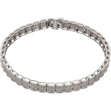 Pre-Owned 9ct White Gold 1.00 Carat Diamond Bracelet