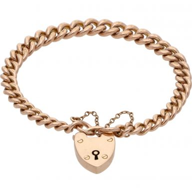 Pre-Owned 9ct Rose Gold Curb Link Charm Style Starter Bracelet