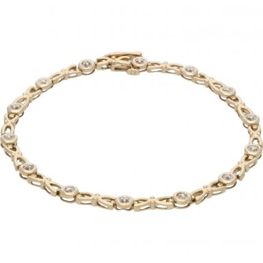 Pre-Owned 9ct Yellow Gold 7.5 Inch Diamond Set Bow Link Bracelet