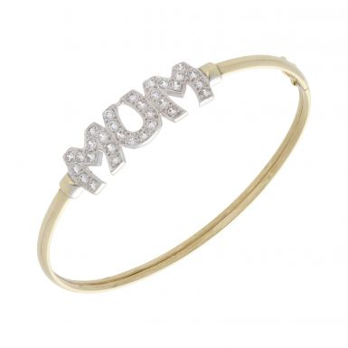 Pre-Owned 9ct Yellow Gold Cubic Zirconia Set Hollow Mum Bangle