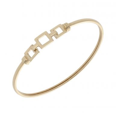 Pre-Owned 9ct Yellow Gold Hollow Squares Hookover Bangle