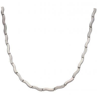 Pre-Owned 9ct White Gold Pattern & Plain Hollow Wave Necklet