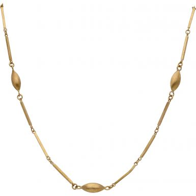 Pre-Owned 9ct Gold 32 Inch Fancy Bead & Bar Link Chain Necklace