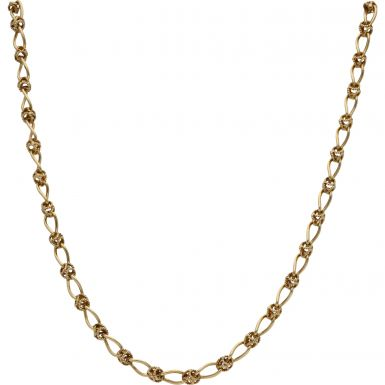 Pre-Owned 9ct Yellow Gold 17 Inch Fancy Knot Link Chain Necklace