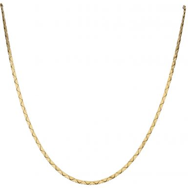 Pre-Owned 9ct Yellow Gold 17 Inch Fancy Flat Link Chain Necklace