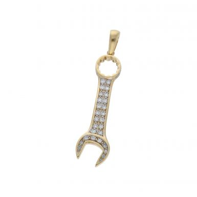 Pre-Owned 9ct Yellow Gold Cubic Zirconia Spanner Pendant