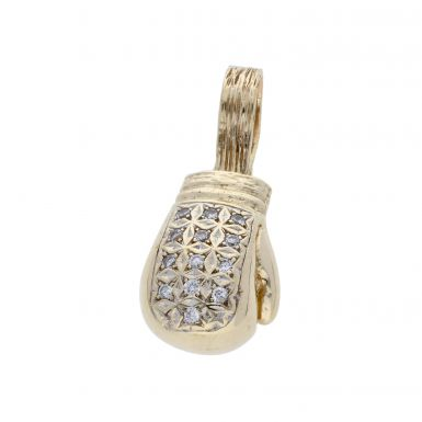 Pre-Owned 9ct Gold Cubic Zirconia Set Boxing Glove Pendant