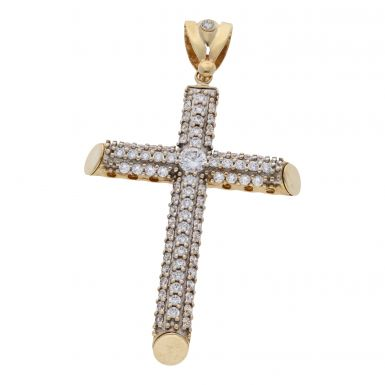 Pre-Owned 9ct Yellow Gold Large Cubic Zirconia Cross Pendant