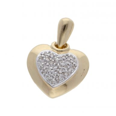 Pre-Owned 9ct Yellow Gold Diamond Set Heart Cluster Pendant