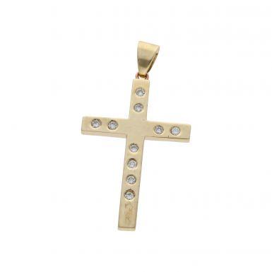 Pre-Owned 9ct Yellow Gold Diamond Set Cross Pendant