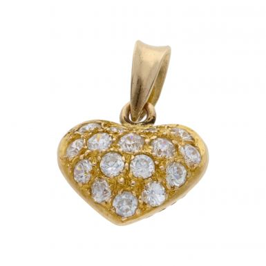 Pre-Owned 14ct Yellow Gold Cubic Zirconia Heart Pendant