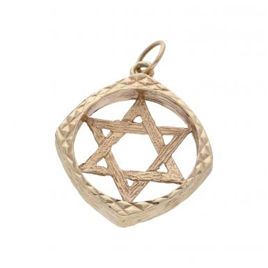 Pre-Owned 9ct Yellow Gold Framed Star Of David Pendant